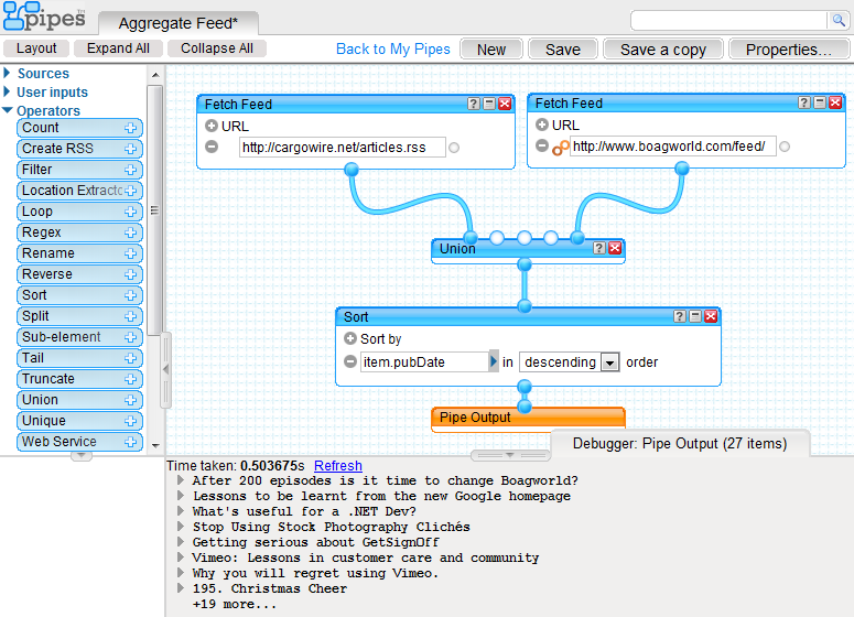 Screenshot of the Pipes editor showing Cargowire and Boagworld feeds merged together